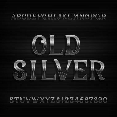 Old silver alphabet font. Vintage rusted metal letters and numbers. Stock vector typeset for your design.