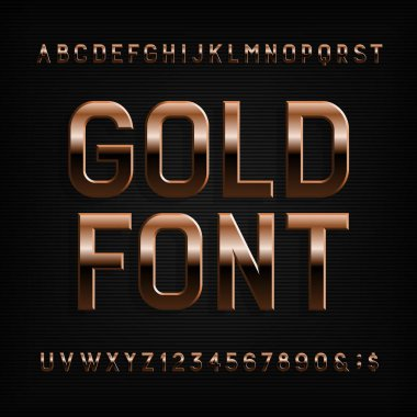 Gold effect alphabet font. Metal letters, numbers and symbols. Stock vector typography for your design.