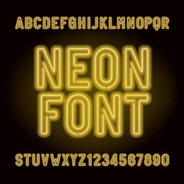Yellow neon tube alphabet font. Neon color letters, numbers and symbols. Stock vector typeface for any typography design.