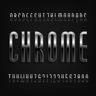 Chrome effect alphabet font. Thin metal letters, numbers and symbols. Stock vector typography for your design.