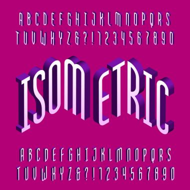 Thin isometric alphabet font. Three-dimensional effect letters and numbers. Stock vector typography for your design.