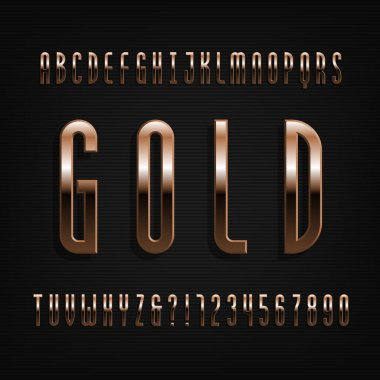 Gold effect alphabet font. Thin metal letters, numbers and symbols. Stock vector typography for your design.