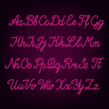 Pink neon script alphabet font. Neon color uppercase and lowercase letters. Stock vector typography.