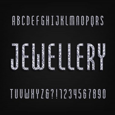Diamond crystal alphabet font. Luxury jewellery letters and numbers. Stock vector typeface.