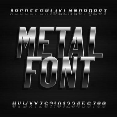 Metal effect alphabet font. Oblique chrome letters, numbers and symbols. Stock vector typography for your design.