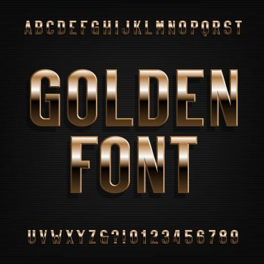 Gold effect alphabet font. Metalic letters, numbers and symbols. Stock vector typeface for your design.