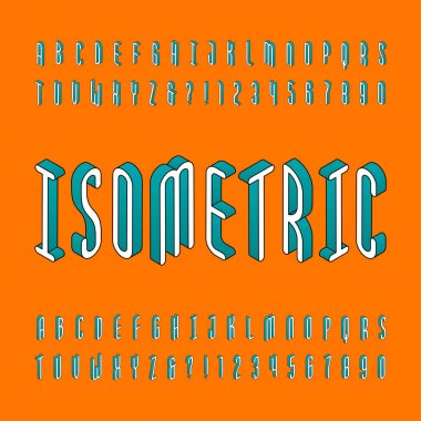 Isometric alphabet font. Td effect outline letters and numbers. Stock vector typography for your design.