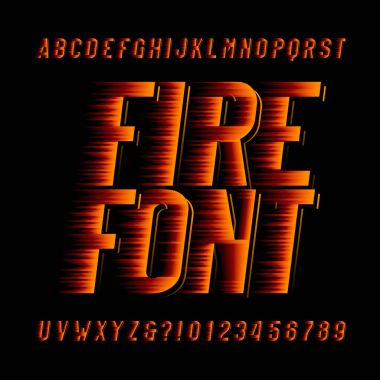 Fire alphabet font. Speed effect type letters and numbers on black background. Stock vector typeset.