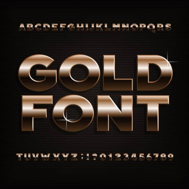 Gold effect alphabet font. Bold metalic letters, numbers and symbols. Stock vector typeface for your design.