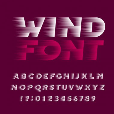 Wind alphabet font. Speed effect bold type letters and numbers. Stock vector typeface. Easy color change.