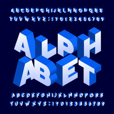 Isometric alphabet font. Three-dimensional effect bold letters and numbers. Stock vector typeface for your design.