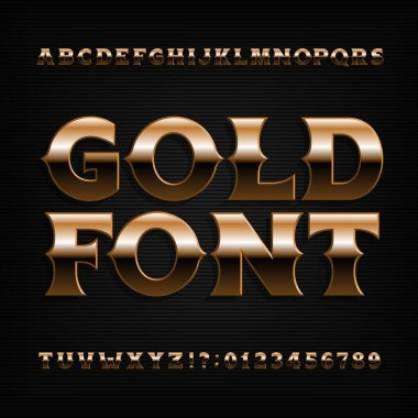 Gold effect alphabet font. Bold metallic letters, numbers and symbols with bevel. Stock vector typeface for your design.