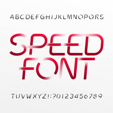High speed alphabet font. Wind effect type letters and numbers on bright background. Stock vector typeset.