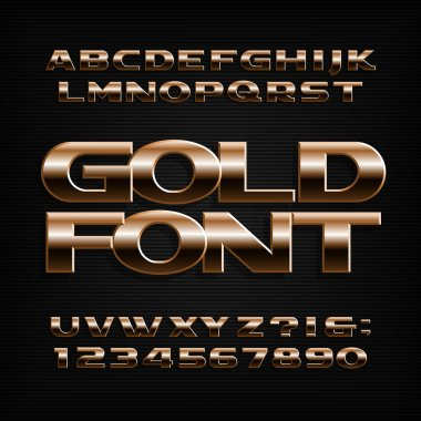 Gold alphabet font. Metallic effect letters, numbers and symbols. Stock vector typeface for typography design.