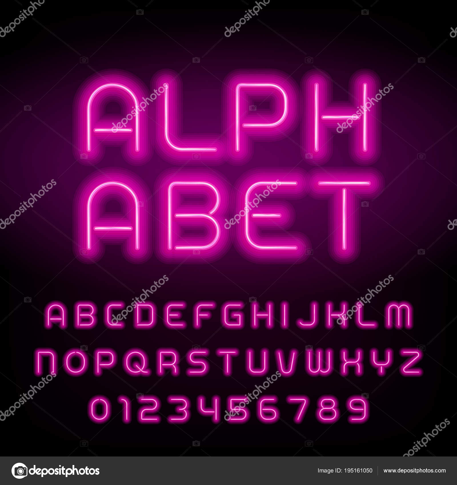 Pink Neon Tube Alphabet Font Neon Color Letters Numbers