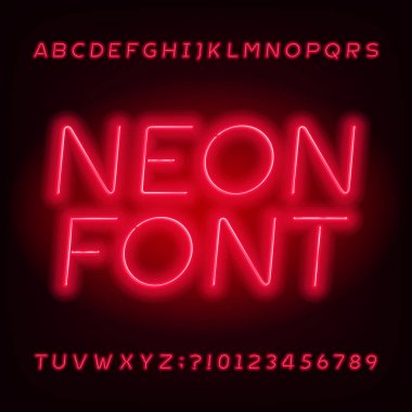 Red neon tube alphabet font. Neon color oblique letters and numbers. Stock vector typeface for your design.