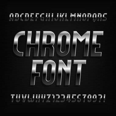 Chrome alphabet font. Metallic effect oblique letters, numbers and symbols on dark background. Stock vector typeface.