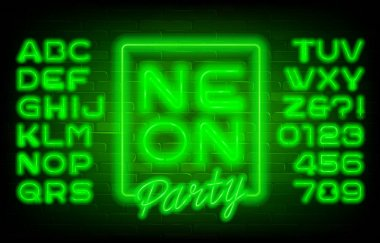 Neon Party alphabet font. Green neon light letters and numbers on brick wall background. Stock vector typescript for your typography design.