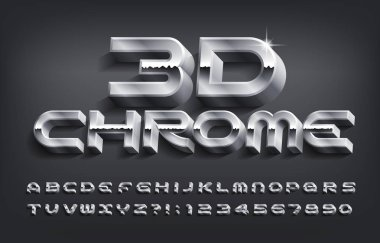 3D Chrome alphabet font. Metal effect letters and numbers with shadow. Stock vector typescript for your design.