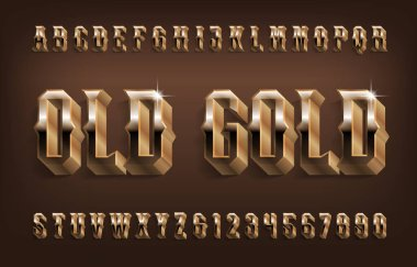 Old Gold alphabet font. 3D Golden effect vintage letters and numbers with shadow. Stock vector typescript for your design.