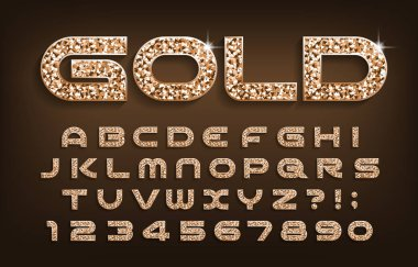 Gold alphabet font. Golden glitter modern letters and numbers with shadow. Stock vector typescript for your design.