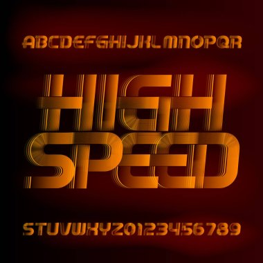 High Speed alphabet font. Wind effect letters and numbers on blurred background. Stock vector typescript for your typography design.