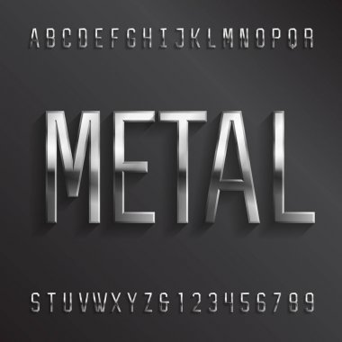 Metal alphabet font. Beveled geometric chrome letters and numbers with shadow. Stock vector typescript for your design.