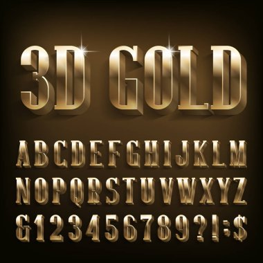 3D Gold alphabet font. Shiny golden letters, numbers and symbols. Stock vector typescript for your design.