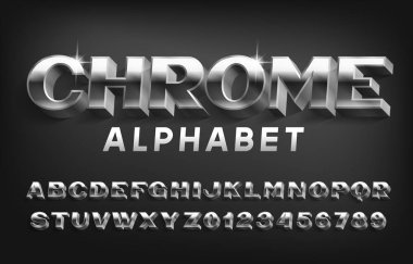 Chrome alphabet font. 3D metal effect letters and numbers with shadow. Stock vector typeface for your typography design.
