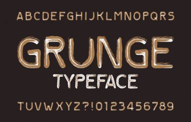 Messy grunge alphabet font. Rough scratched uppercase letters and numbers. Stock vector typescript for your design.