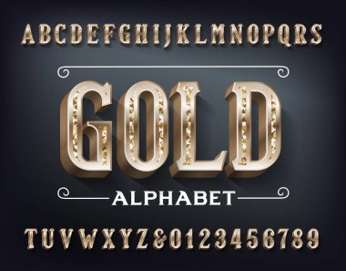 Gold alphabet font. 3d ornate golden metal letters and numbers. Stock vector typeset for your design.