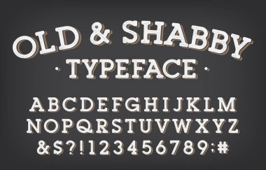 Old and Shabby alphabet font. Vintage letters and numbers. Stock vector typeface for your typography design.