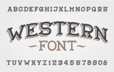 Western alphabet font. Retro letters and numbers. Stock vector typescript for your typography design.
