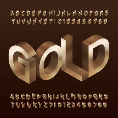 Isometric Gold alphabet font. 3d golden letters and numbers. Stock vector typescript for your typography design.