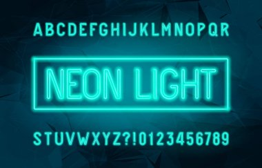 Neon Light alphabet font. Glowing neon color letters and numbers. Stock vector typescript for your design.