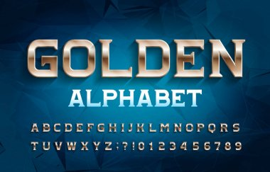 Golden alphabet font. Metal effect serif letters and numbers. Abstract background. Stock vector typescript for your typography design.