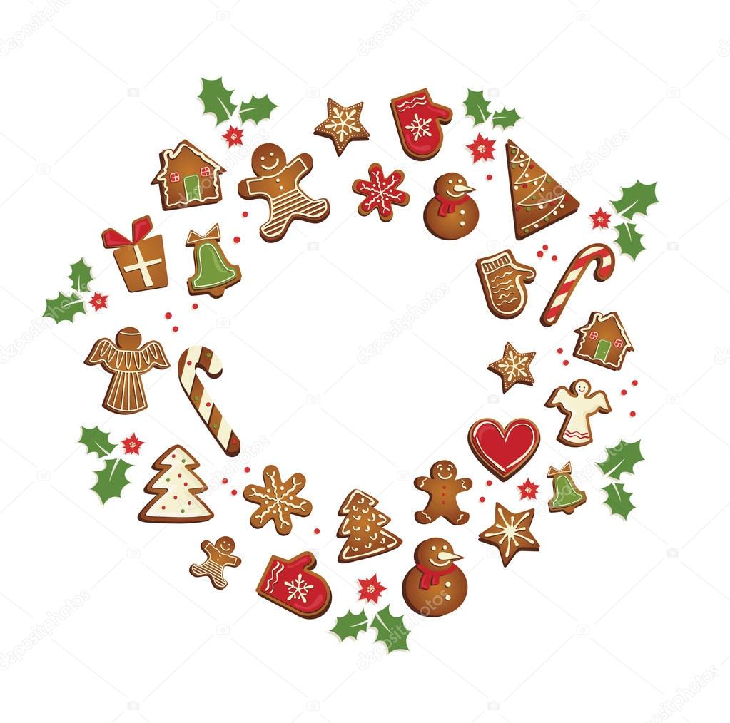 Gingerbread cookies set arranged in as holiday round frame