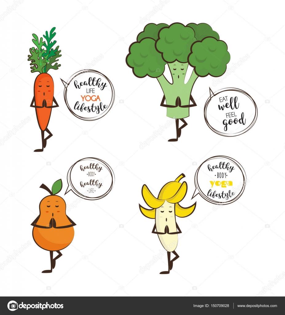 Słodkie Owoce I Warzywa Jogę Z Motywacja Cytaty Grafika