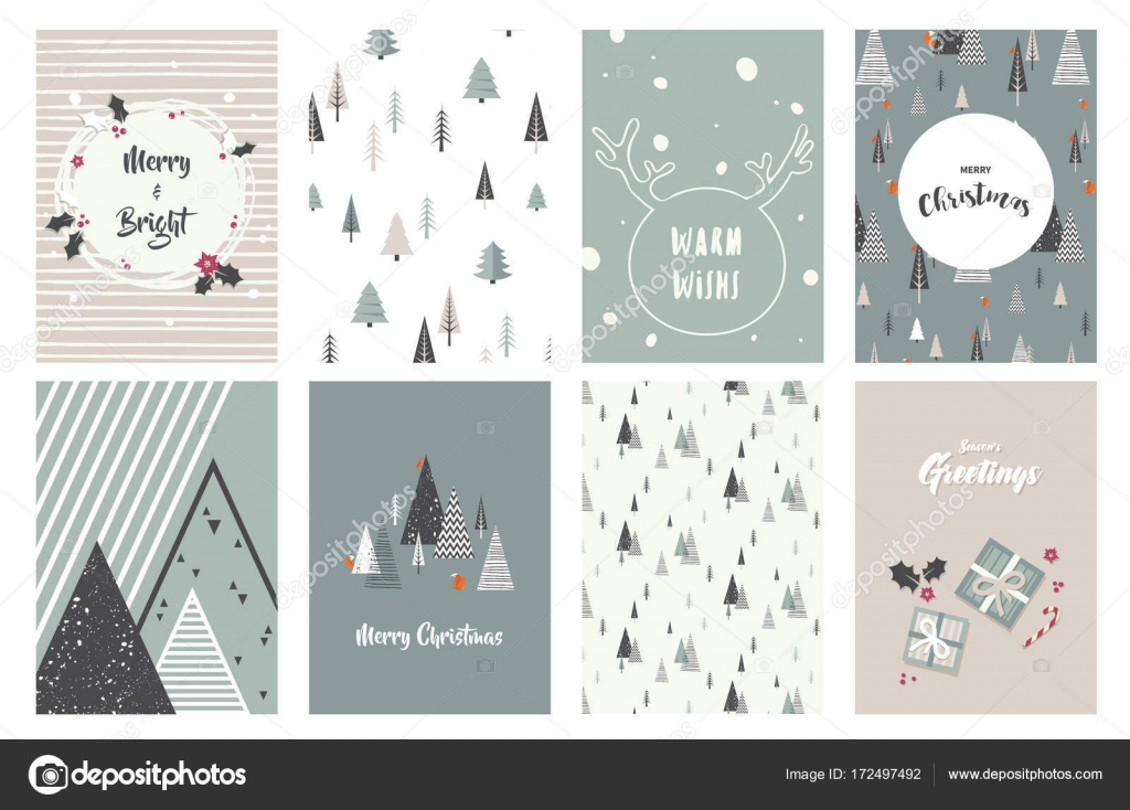 merry christmas cards illustrations and icons lettering design
