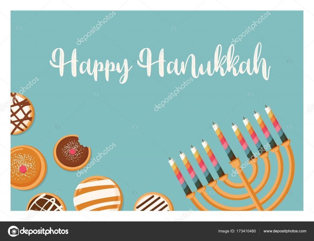 Hanukkah Doughnut And Menora Jewish Holiday Symbols Sweet