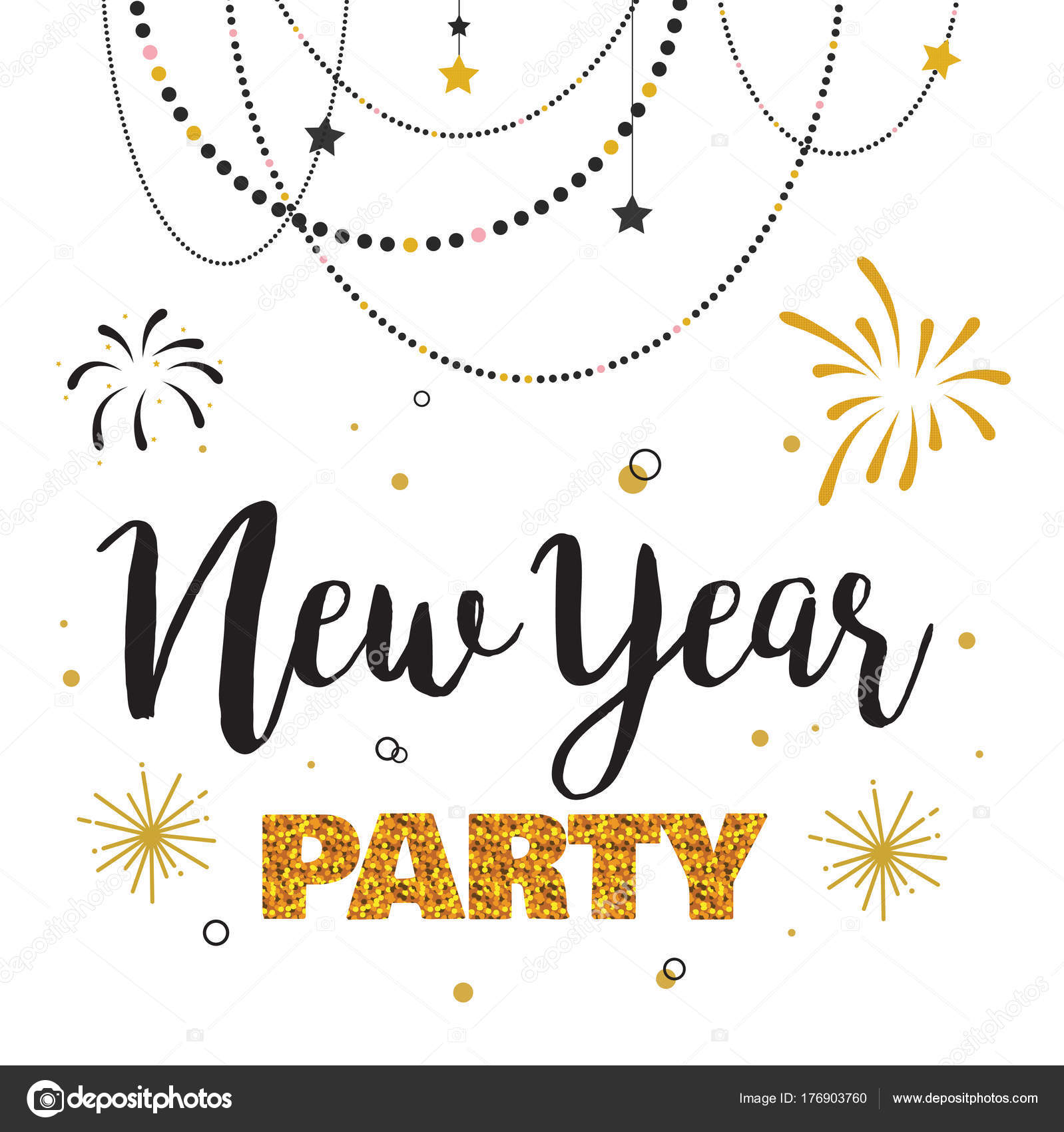 new year party invitation template stock vector