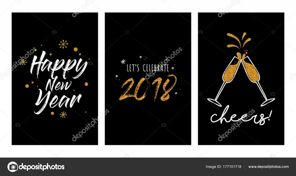 new year party invitation template set new year greeting cards or posters stock vector