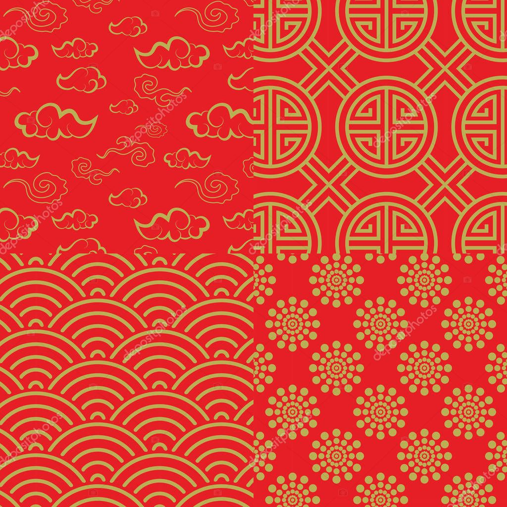 Chinese pattern set with traditional designs.