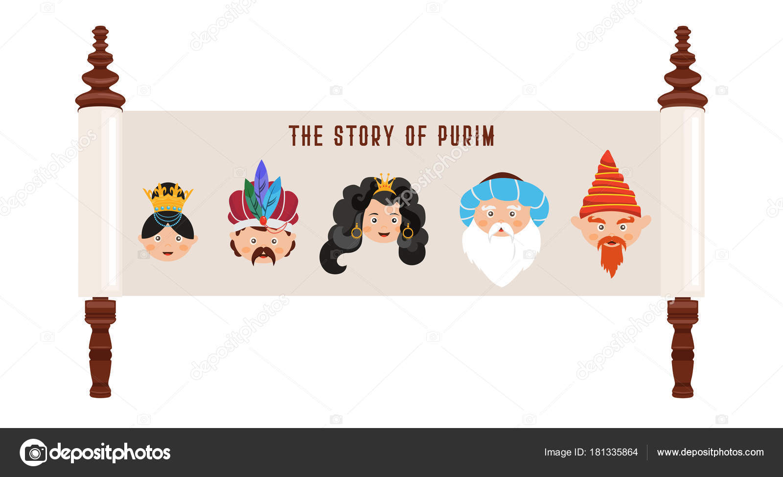 the story of purim with traditional characters jewish acient scroll