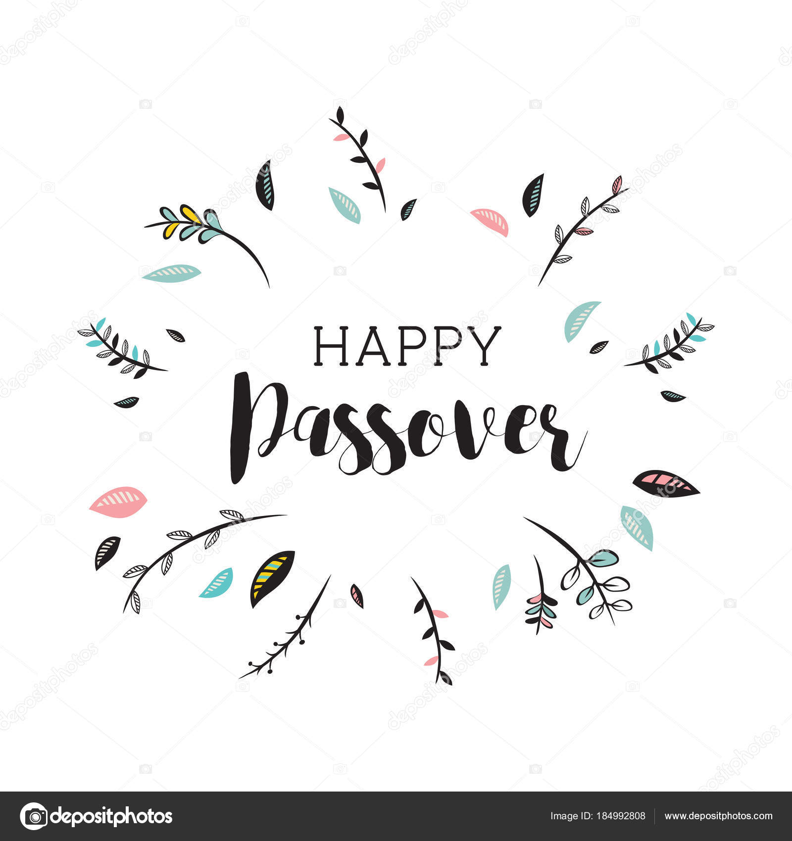 happy passover card with floral decoration. vector illustration