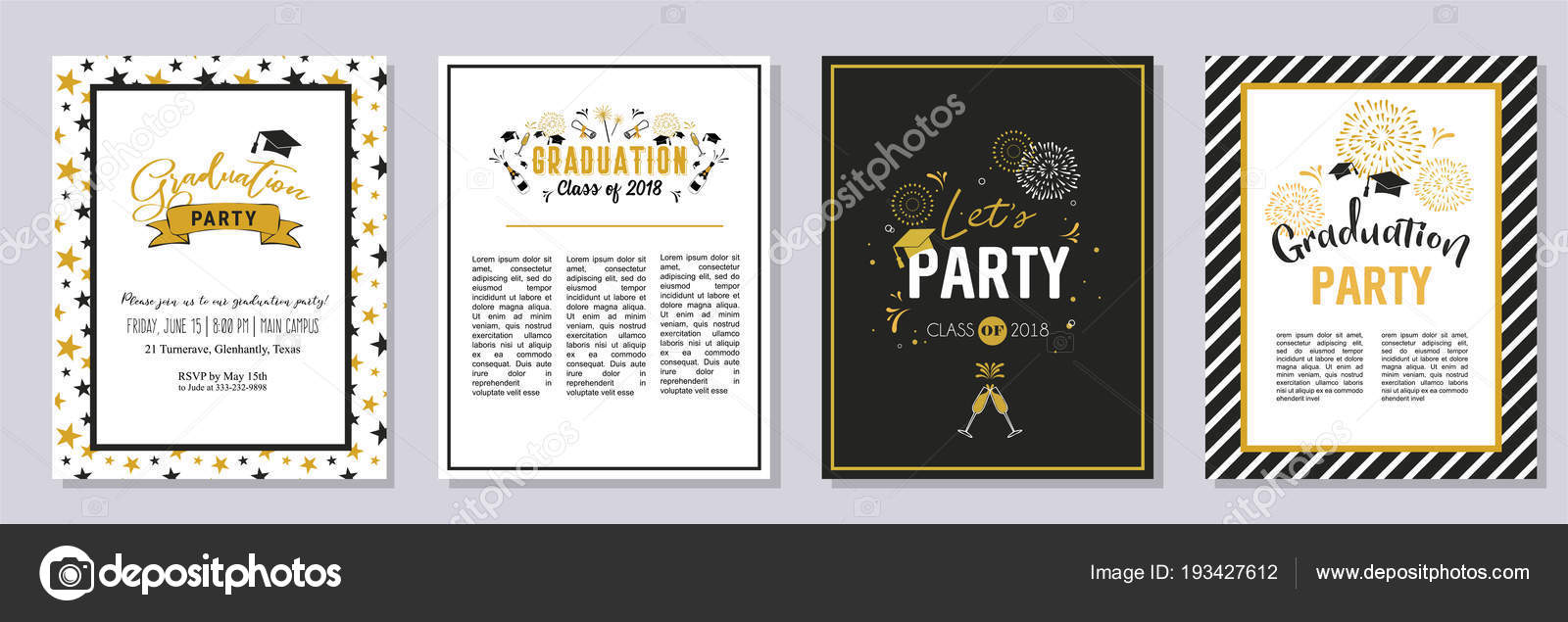 Graduation Class of 2018 greeting card and invitation template set ...