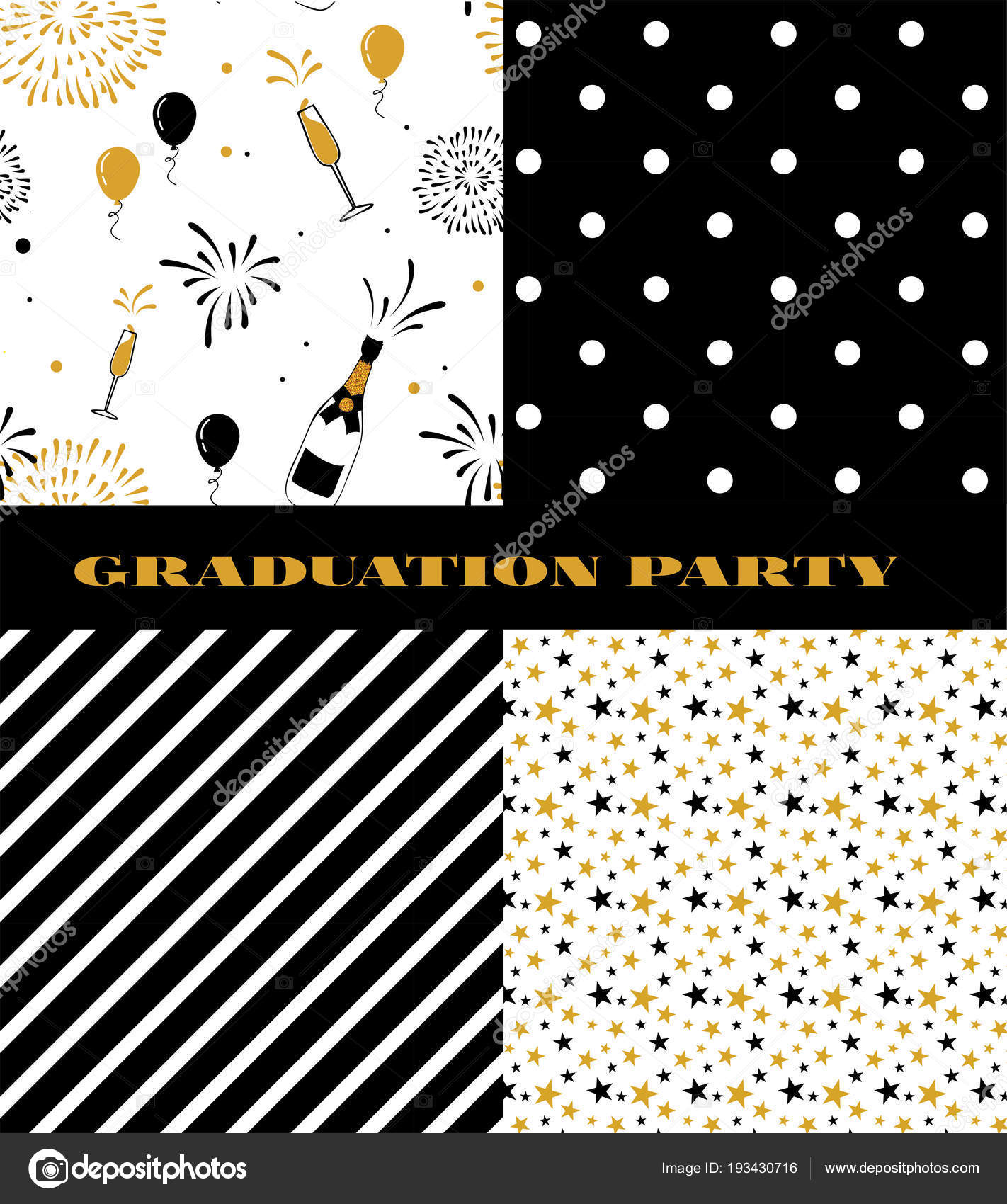 Graduation Pattern Collection Black And Golden Vector Background For Party Or Ceremony Invitation