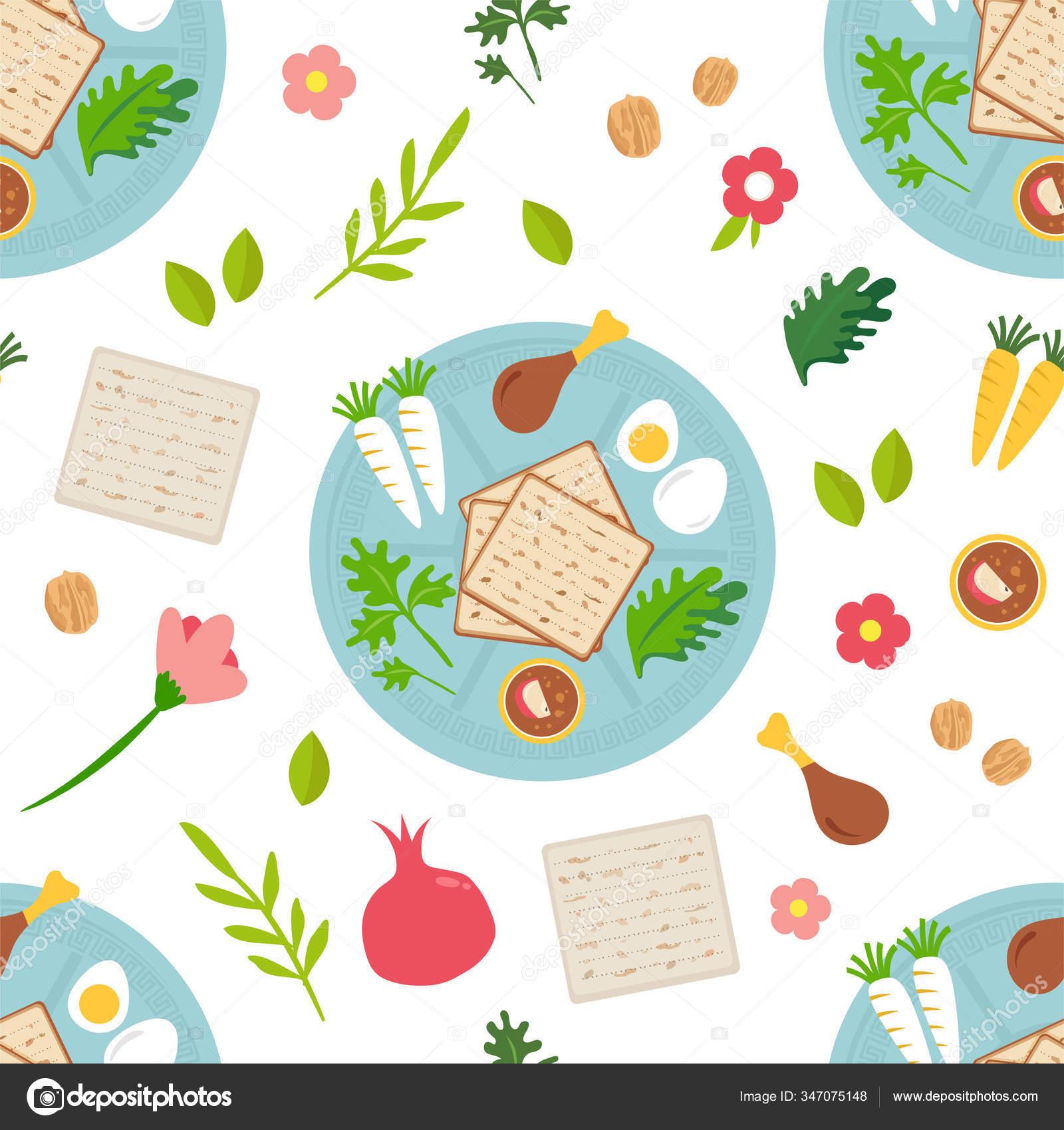 Conceito De Celebracao Pesah Padrao Sem Costura Feriado Pascoa Judaica Icones E Simbolos Tradicionais Da Pascoa