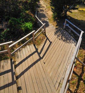 A wooden platform with handrail in Virgin Gorda, British Virgin Island