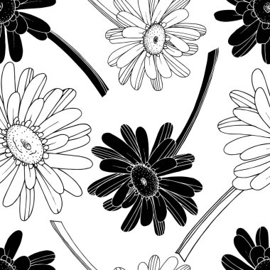 Vector Gerbera floral botanical flower. Wild spring leaf wildflower isolated. Black and white engraved ink art. Seamless background pattern. Fabric wallpaper print texture. stock vector